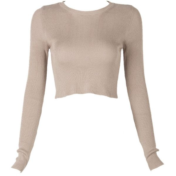 Choies Brown Rib Knitted Crop Jumper ($28) ❤ liked on Polyvore featuring tops, sweaters, shirts, crop tops, crop, brown, jumper shirt, brown crop top, shirts & tops y cropped sweater