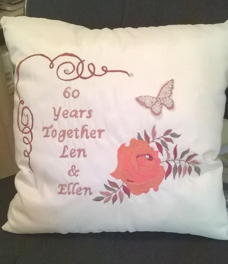 Hand embroidered anniversary cushion handmade by Beautiful Unique