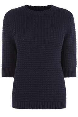 This heavy-weight knitted jumper features a round neck, cropped sleeves, regular fit and basket weave knit. Length of jumper, from shoulder seam to hem, 61cm approx. Height of model shown: 5ft 10 inches/178cm. Model wears: UK size 10.Fabric:Main: 45.0% Cotton #WAREHOUSEWISHLIST