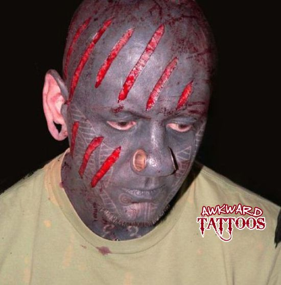 Ugly face tattoo and nose piercing extreme pinterest for Are tattoos bad for your blood