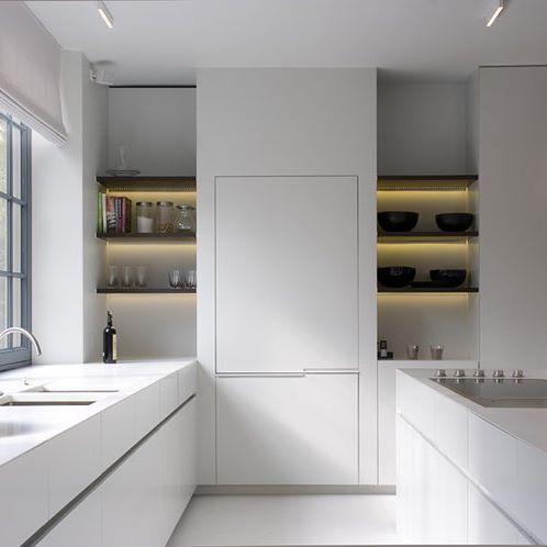 All white kitchen by the talented Glenn Reynaert. Photo by Hendrik Biegs. #minimal #interiordesign #whitekitchen #glennreynaert
