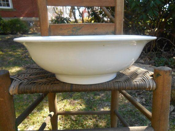 Antique White Ironstone Basin Wash Bowl Warranted
