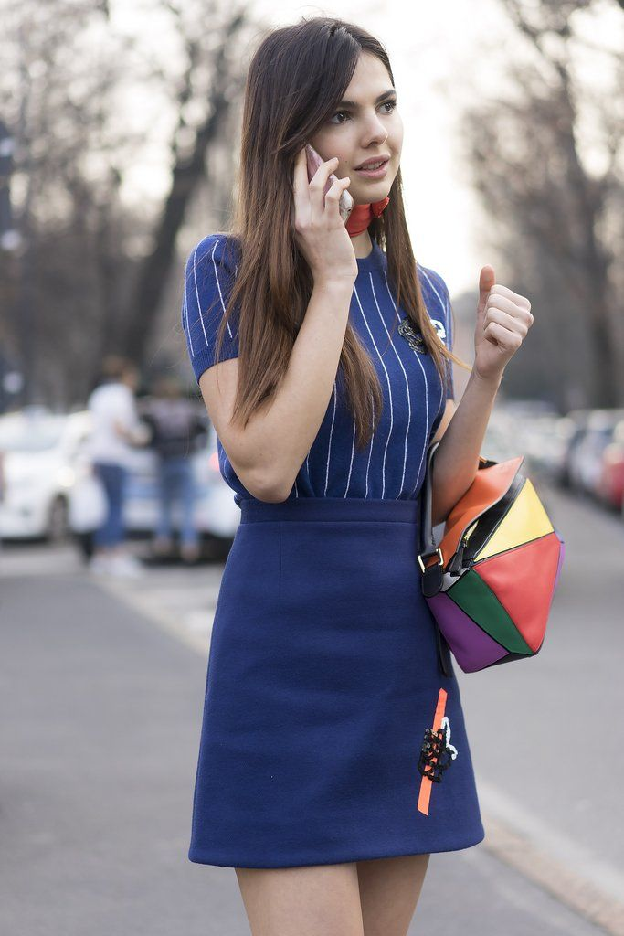 Go for a mod look by tucking your tee into a miniskirt you can wear with a bodysuit later on in the weekend. Finish with a necktie and a bag so funky, it's practically a neutral.