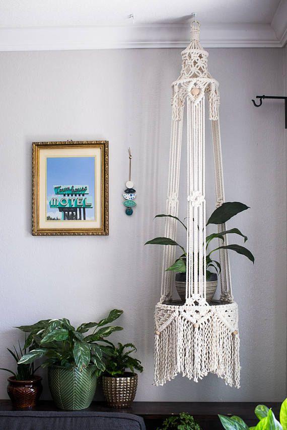 Cotton Macrame Plant Hanger |  Macrame table | Large Macrame  FromAgnes