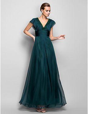 vestido de noche de gasa palabra de longitud una línea de cuello en V (759794) - USD $ 89.99