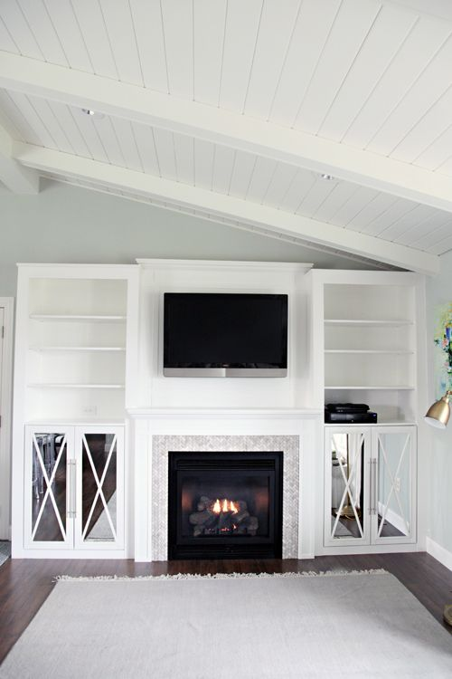 IHeart Organizing: DIY Fireplace Built-In Tutorial...swap out fireplace part for bench seat in middle