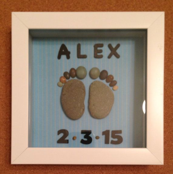 Personalized baby boy gift/Baby Feet Prints/ Baby Keepsake/ Baby Shower Gift/ Pebble Art/ Baby Blue/ shadowbox/ unique gift