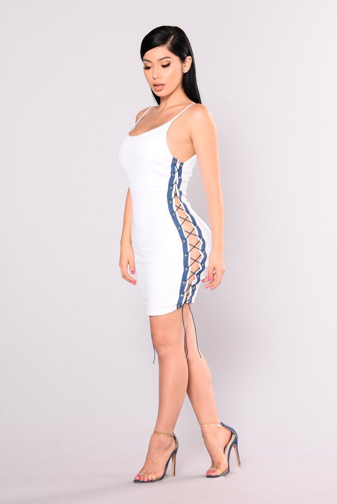 Cheer Team Lace Up Dress - White