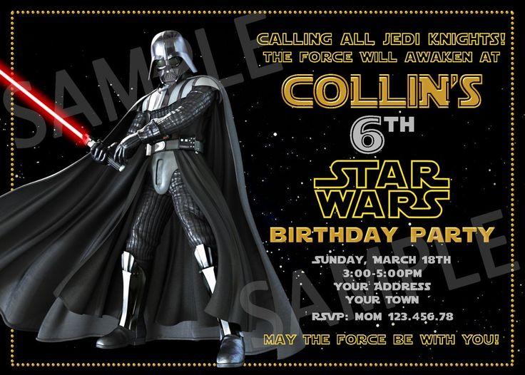 Darth Vader Party Invitation. Star Wars Invitation. Star Wars Printable. Star Wars Birthday Party Printable Invites.