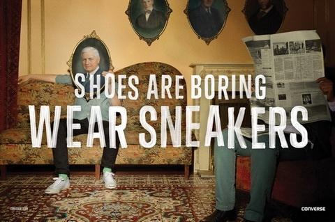 Рекламная кампания Converse «Shoes Are Boring. Wear Sneakers».  Мы продолжаем следить за яркими и интересными рекламными кампаниями. Последняя работа Converse сделана в лучших традициях подросткового максимализма, их новый лозунг гласит: «Туфли – это скучно. Носи кеды».  http://theloom.ru/fashion/reklamnaya-kampaniya-converse-shoes-are-boring-wear-sneakers/