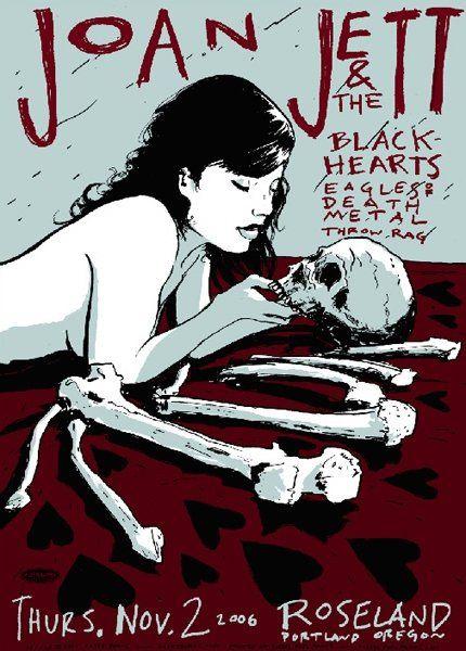 Joan Jett music gig poster, at The Roseland Theater, Portland Oregon