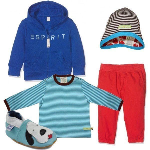 Per un bebè fashion ho immaginato questo outfit colorato: polo con cappuccio blu, pantaloni sportivi rossi, maglietta felpata a righe bianche e turchesi, cappellino double face e scarpine di pelle morbida, con motivo applicato.