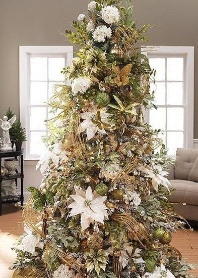 Christmas Tree Decorated With Silk Flowers Dried Gres Frosted Ivy And Many Other