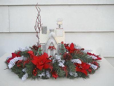 christmas centerpiece artificial pine greenery table decor flower arrangement