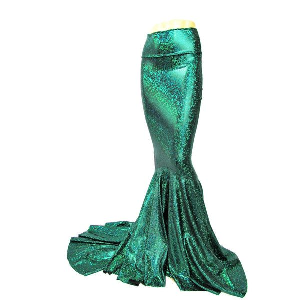 Mermaid Skirt Fish Tail Costume Fairy Circle Skirt Green Shattered... (€62) ❤ liked on Polyvore featuring skirts, silver, women's clothing, long skirts, long fishtail skirt, green skater skirt, long white maxi skirt and long maxi skirts