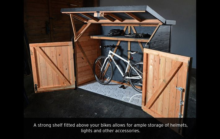 Taller than the Pedalbase, the SPOKESHED looks great up against a high wall, fence or hedge. Again, security is a top priority, and there is the added benefit of a shelf for extra storage. https://www.thebikeshedcompany.com/product.php/3/11/spokeshed