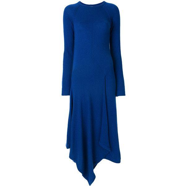 Pringle Of Scotland handkerchief hem dress ($2,455) ❤ liked on Polyvore featuring dresses, blue, pringle of scotland, blue color dress, cashmere dress, handkerchief dresses and blue dress