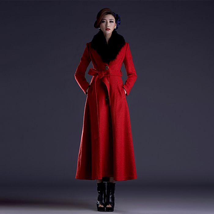 2017 Winter New Red X-Long Trench Coat With Fox Fur Collar Women Plus Size X-Long Jackets Wool Overcoats