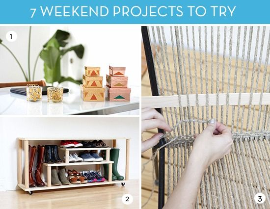 If you're looking for a couple of DIY projects to try this weekend, check out this list of favorites for the week. There's a little something for everyone. You can create a decorative set of metallic boxes for your office or make an industrial hamper from scratch. And if those don't tickle your fancy, there are still five more clever DIY options to take a look at. � �� Here are 7 DIY projects you may want to try this weekend...� 1. Make DIY Metallic Storage Boxes 2. Create a DIY Shoe Rack…