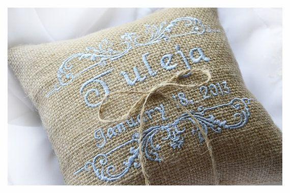 Burlap Wedding pillow  wedding pillow  something blue  by KoTshop, $20.00