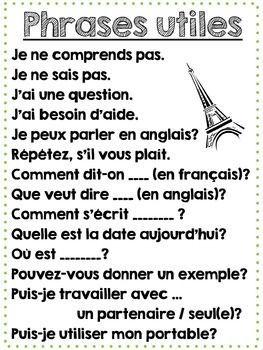 Printable French Classroom Poster - Useful Classroom Phras