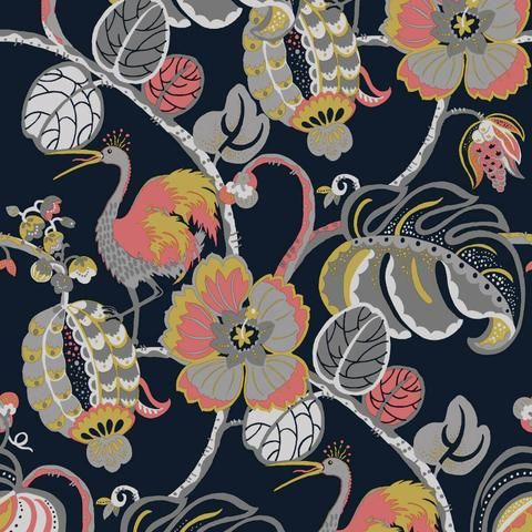 Tropical Fete Self Adhesive Wallpaper in Really Rouge by Genevieve Gorder for Tempaper