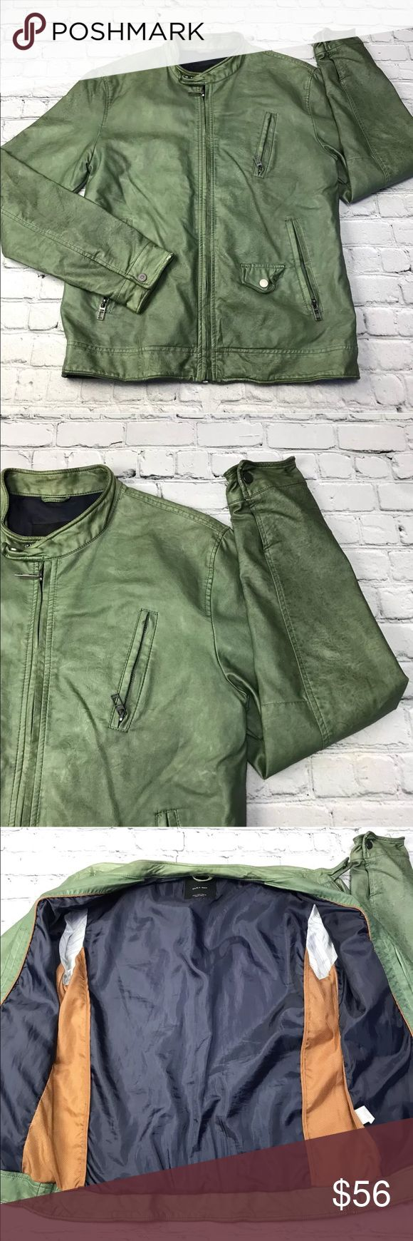 """Zara Man Vegan Leather Moto Jacket Zara Basic Mens Jacket Motorcycle Moto Vegan Leather HTF Green L. Distressed, please see photos.   Measurements ~Chest: 21""""  Length: 28""""   Condition:Gently used Measurements are taken as follows: Chest~ laid flat, no stretching, underarm to underarm. Length: laid flat, measured from waistband or shoulder to bottom front hem. No tears, holes, stains, fading or defects unless otherwise noted. I accept all reasonable offers!! Thanks for shopping…"""