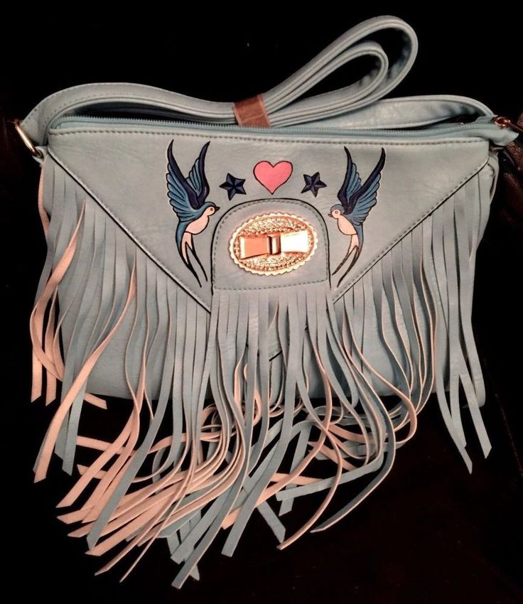Hand Painted Fringed Bag. Shoulder Bag Retro Swallow Design. Rockabilly Tattoo #Moda #ShoulderBags