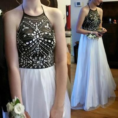 black and white halter long chiffon prom dresses #promdresses #fashion #shopping #dresses #eveningdresses