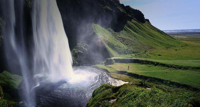 seljalandsfoss waterfall on the south coast of iceland.