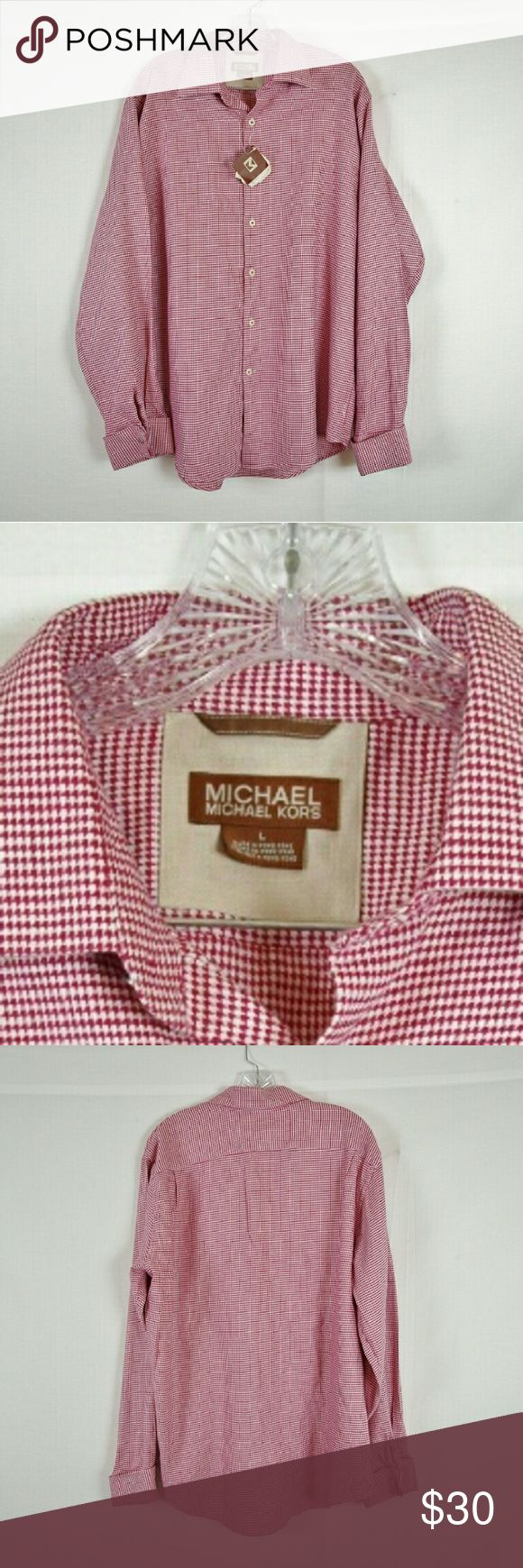 """Mens Michael Kors Red Houndstooth Shirt Size L Armpit to armpit 25"""" & length 32.5"""". Material 100% cotton. Add to a bundle to receive 20% off 3 or more items. Offers welcomed. bin g7 MICHAEL Michael Kors Shirts"""