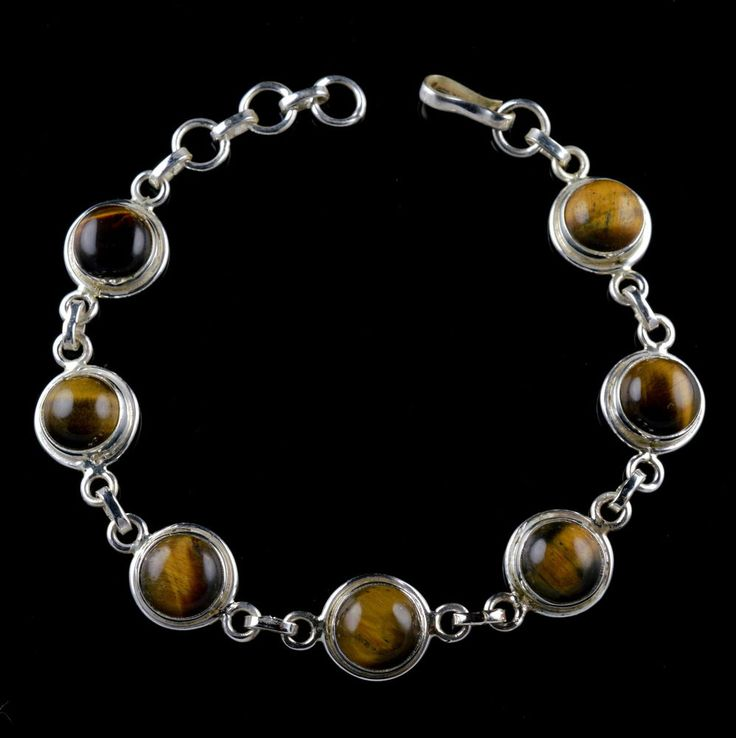 925 Sterling Silver Natural Tigers Eye Gemstone Handmade Bracelet Jewelry #Handmade #Chain #Party