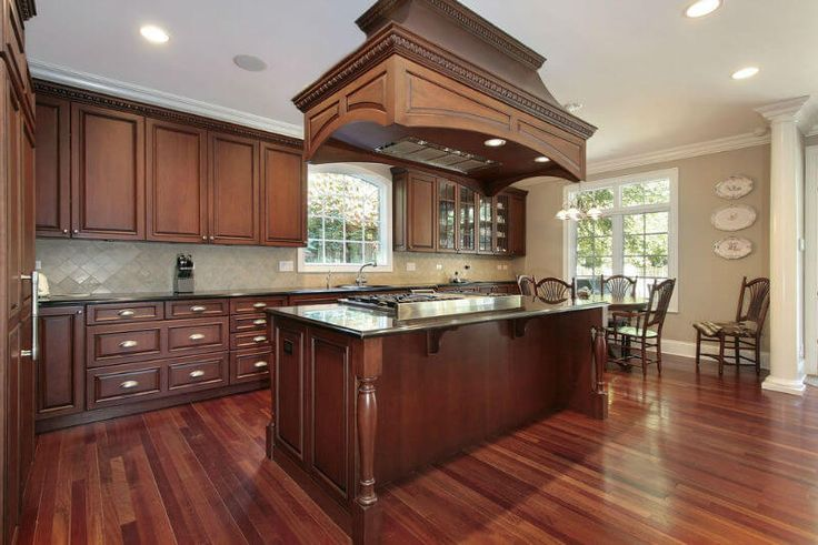 cherry wood kitchen island cabinets floors and ventilation hood hoods range cooker