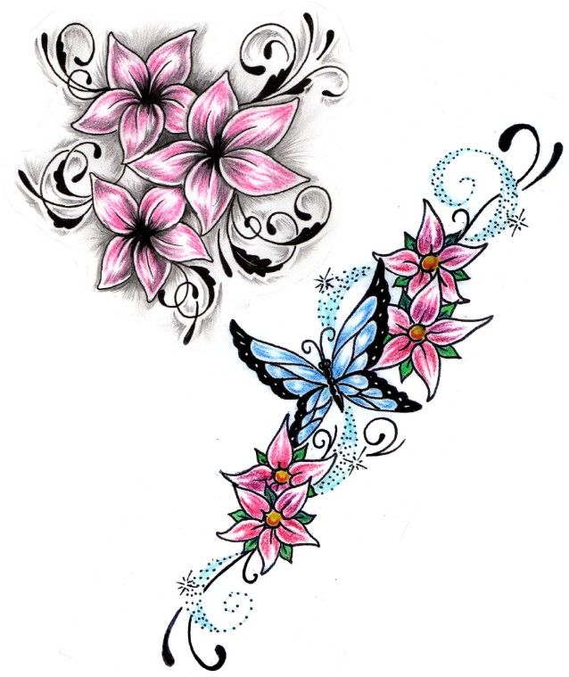 Butterfly And Vine Flowers Tattoos Designs