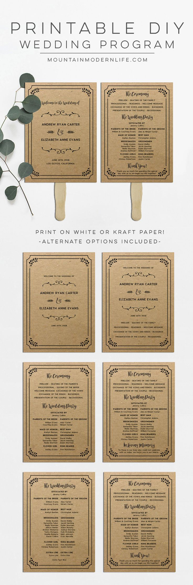 Save money by customizing this Rustic DIY Wedding Program Fan and then print as many copies as you need! MountainModernLife.com