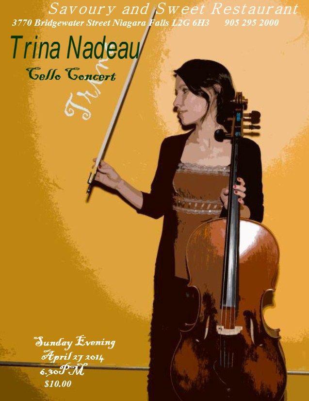 Trina Nadeau Concert Sunday April 27 2014 at 6.30PM.