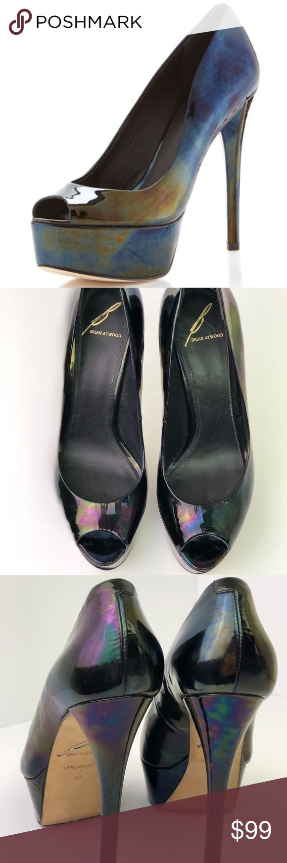 """Brian Atwood Sexy Bambola Platform Pump Patent Hot MSRP $345 Sold out  Sz 6.5 Color Black Oil Slick  ASO Kendall Jenner Halle Berry Rita Ora Anna Kendrick Bella Thorne  Opalescent patent radiates subtle colors across a lofty open peep toe pump w/wrapped heel+platform Black shows hints of rainbow colors as you walk!  Approx heel: 5""""  1.5"""" platform (=3.5"""" heel)  EUC hardly worn, no box/dust bag Right sole slightly lifting under toe area+2 small scuffs@left side area-see last pic Patent leather…"""