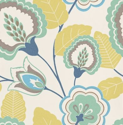 Orissa Citrus (W0023/02) - Clarke & Clarke Wallpapers - A funky stylized floral design with a fresh use of colour. Showing in blue, turquoise and green on a off white background - other colour ways available. Please request a sample for true colour match. Paste-the-wall product.