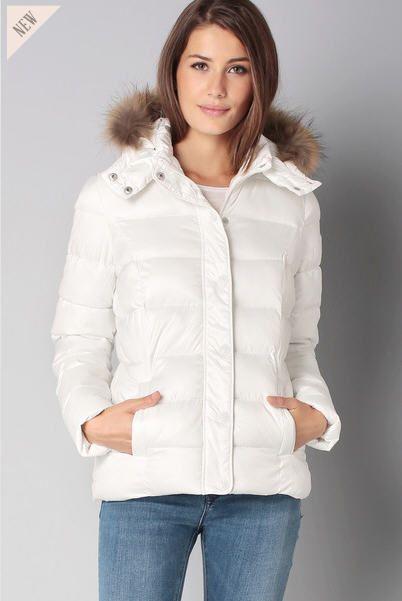 Doudoune blanche capuche Mink Blanc Kaporal pour femme prix Doudoune Monshowroom 99.00 €