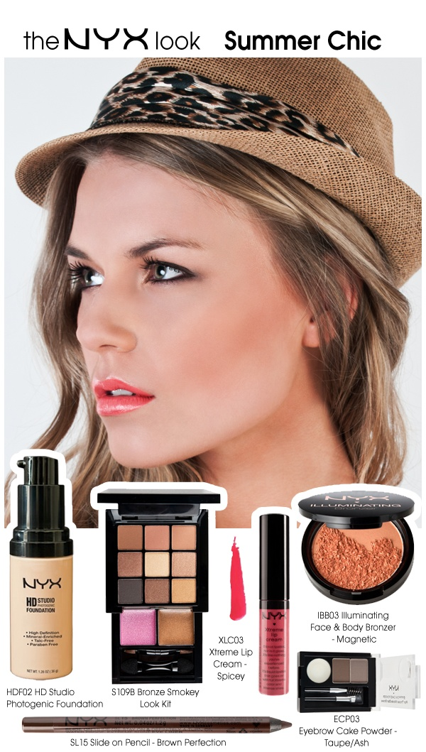 Get the NYX Look for August! All you really need is the S109B Smokey Bronze Look Set and just top up with XLC Xtreme Lip Cream and IBB Illuminating Face & Body Bronzer to complete the look! All products are available on the NYX UK Website: http://www.nyxcosmetics.co.uk/