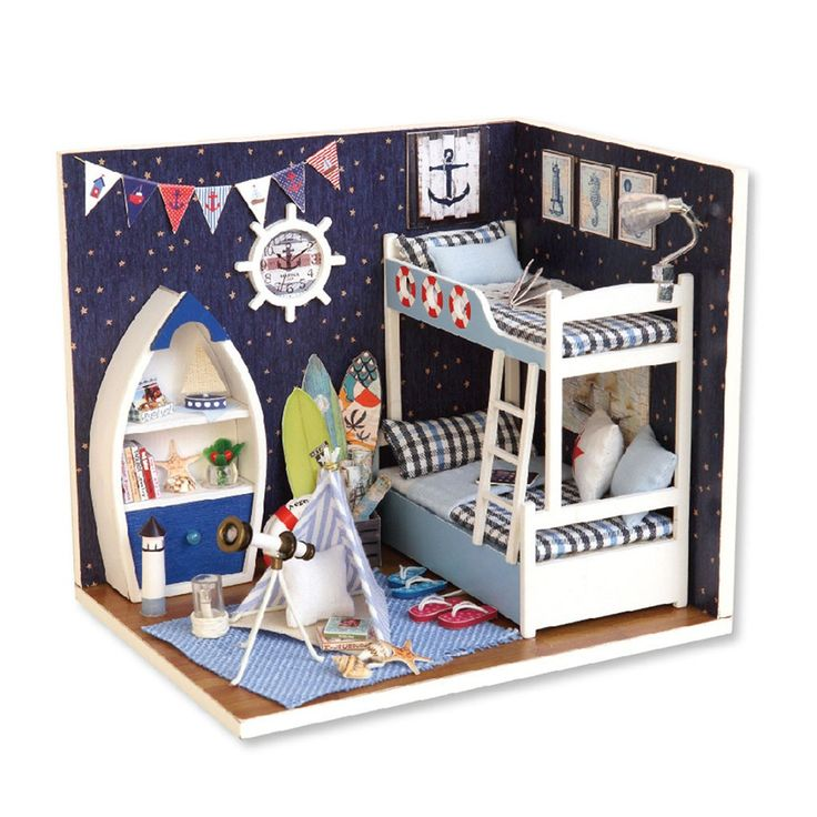 DIY Wooden <b>Dollhouse Miniature</b> Kits with Bedroom Set and LED ...