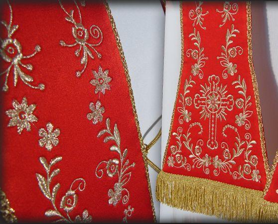 Stola sacerdotale ricamata in filato metallico color oro bianco