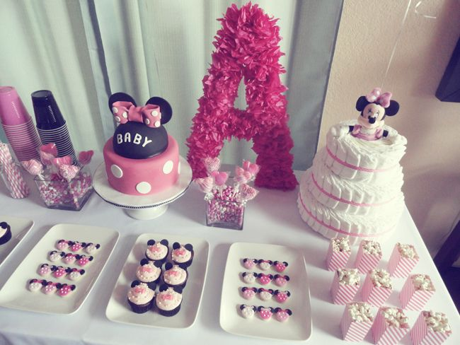 minnie mouse baby shower pink dessert table kids birthday party disney