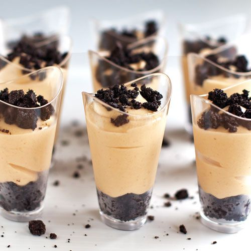 Peanut Butter Pie Shooters  •1 cup PB   •8 oz cream cheese   •14 oz sweet/cond milk   •1 tsp vanilla   •1 cup powdered sugar   •¼ cup heavy whipping cream or whipped cream  •16 crushed Oreos •5 tbsp melted butter •sea salt for sprinkling