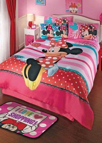 Coordinado de Edredón Minnie Amor #Decoracion #Minnie #Mickey #Recamara #Niñas #Color #IntimaJunior #Ideas #IntimaHogar