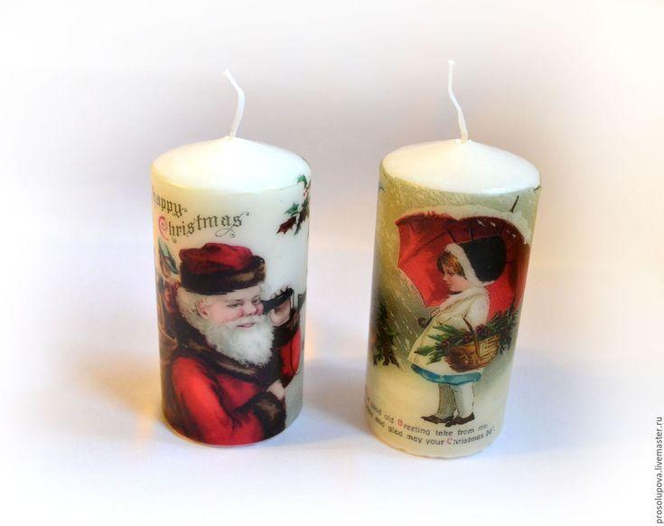 Buy Candles Christmas decoupage - vintage, decoupage, vintage style, new year, christmas, candles