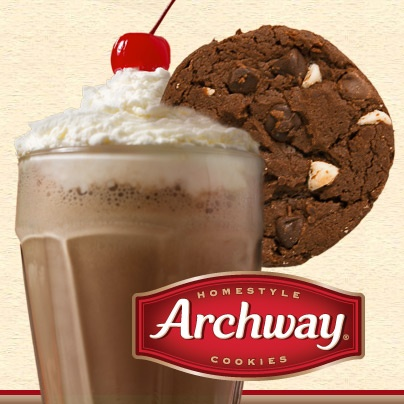 Triple Chocolate Archway cookies make a great garnish to any chocolate milkshake! Can you handle all that #chocolate!? #cookies