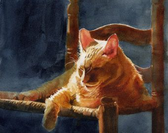 Orange Marmalade Ginger Tabby Cat Art Print of my by rachelsstudio