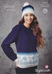 Ladies Christmas Jumper and Hat in Stylecraft Special DK (9308)