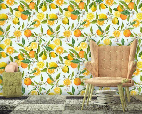 Lemon Wallpaper Watercolor Fruit Wall Mural Self Adhesive Etsy Fruit Wallpaper Floral Wallpaper Removable Wallpaper